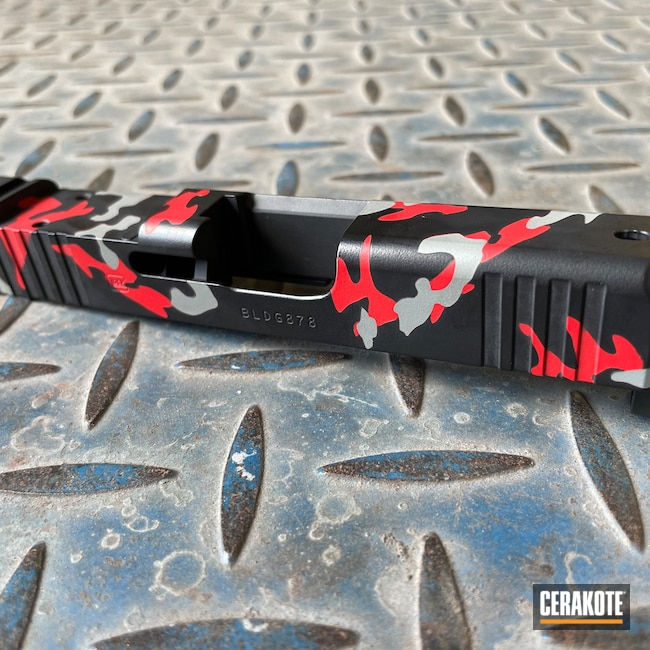 Cerakoted: S.H.O.T,Graphite Black H-146,Firearm,USMC Red H-167,Pistol,Glock,Bull Shark Grey H-214