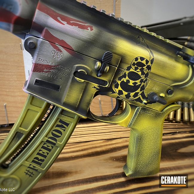 Cerakoted: S.H.O.T,Corvette Yellow H-144,AR-22,Dont Tread On Me,USMC Red H-167,American Flag,Gadsden Snake,Freedom,Hidden White H-242,AR Pistol,Graphite Black H-146,Smith & Wesson,Gadsden Flag,Distressed American Flag,Distressed Flag,America,M&P 15-22,Sky Blue H-169,AR-15