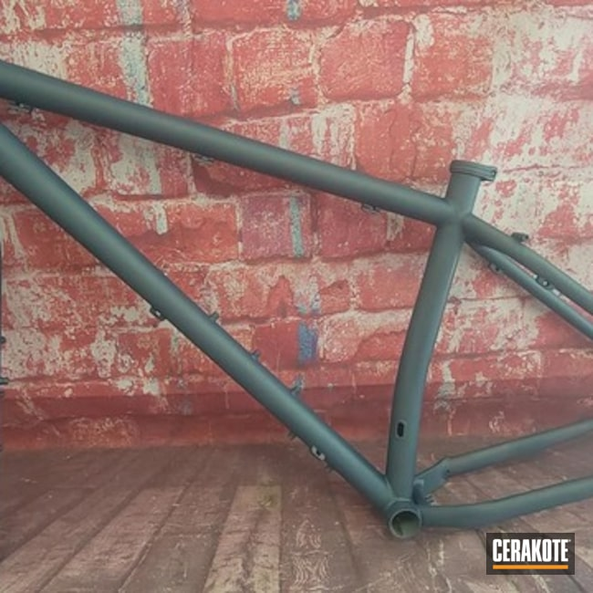Bike Frame Cerakoted Using Blue Titanium