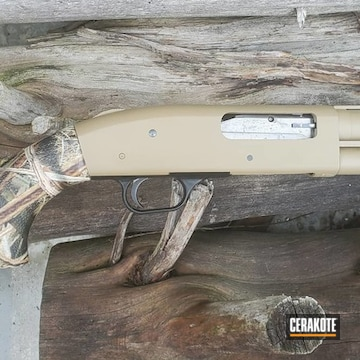 Mossberg 500 Shotgun Cerakoted Using Matte Ceramic Clear And Coyote Tan