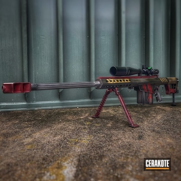 Mandalorian Themed Barrett Rifle Cerakoted Using Crimson, Armor Black And Titanium
