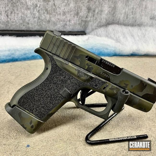 Custom Multicam Glock 43 Cerakoted Using Sniper Green, Sig™ Dark Grey And Graphite Black