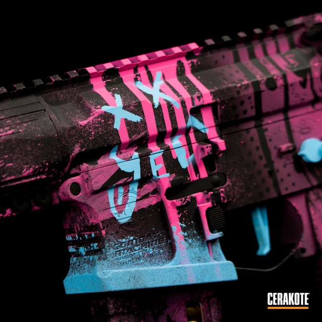 Cerakoted: S.H.O.T,Themed Cerakote,Graphite Black H-146,G&G Armament,SpeedQB,Airsoft,BLUE RASPBERRY H-329,CSGO,Prison Pink H-141