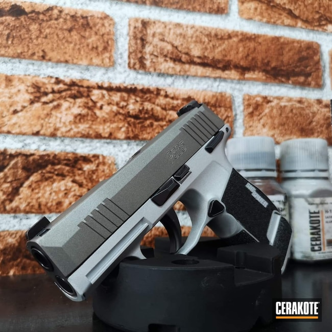 Cerakoted: S.H.O.T,9mm,Sig P365,Stainless H-152,Satin Aluminum H-151
