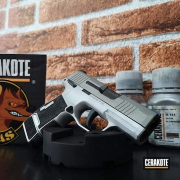 Sig Sauer P365 Cerakoted Using Satin Aluminum And Stainless