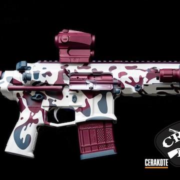 Custom Camo Ar Cerakoted Using Snow White, Black Cherry And Blue Titanium
