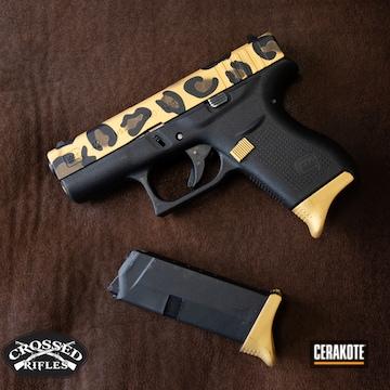Cheetah Print Themed Glock 43 Cerakoted Using Graphite Black And Gold