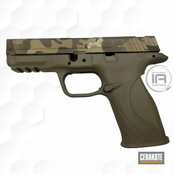 Smith & Wesson M&p Cerakoted Using Patriot Brown, Desert Sand And Chocolate Brown
