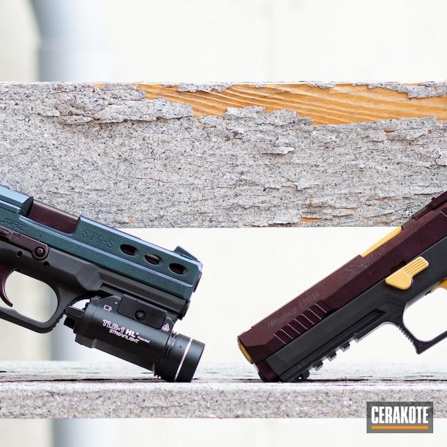Cerakoted: S.H.O.T,Pair,P320,Legion,Pistol,Sig Sauer,Sig,Matching Set,Cobalt H-112,Gold H-122,Sar,Combat Grey H-130,Blue Titanium H-185