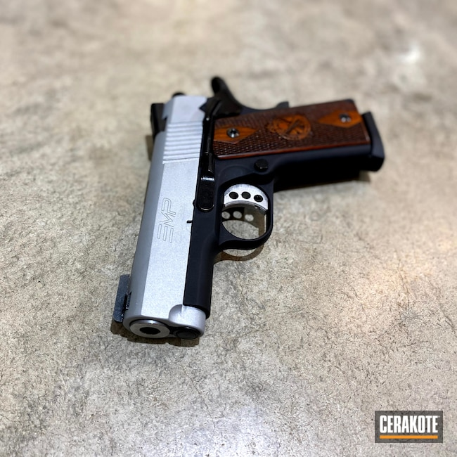 Cerakoted: S.H.O.T,9mm,Springfield 1911,Wood,Two Tone,EMP,Crushed Silver H-255,Springfield Armory,Hammer,Firearms,Handgun