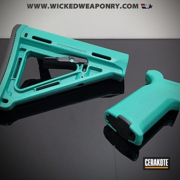 Ar Grip And Stock Cerakoted Using Sky Blue And Robin's Egg Blue