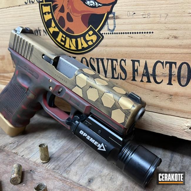 Cerakoted: S.H.O.T,Glock 19,9mm,Custom,Graphite Black H-146,USMC Red H-167,Satin Aluminum H-151,Glock,O.D. Green H-236,Gold H-122
