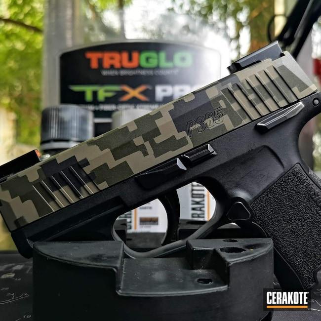 Cerakoted: S.H.O.T,9mm,Sig P365,MAGPUL® FLAT DARK EARTH H-267,Graphite Black H-146,Sig Sauer,O.D. Green H-236,Custom Camo