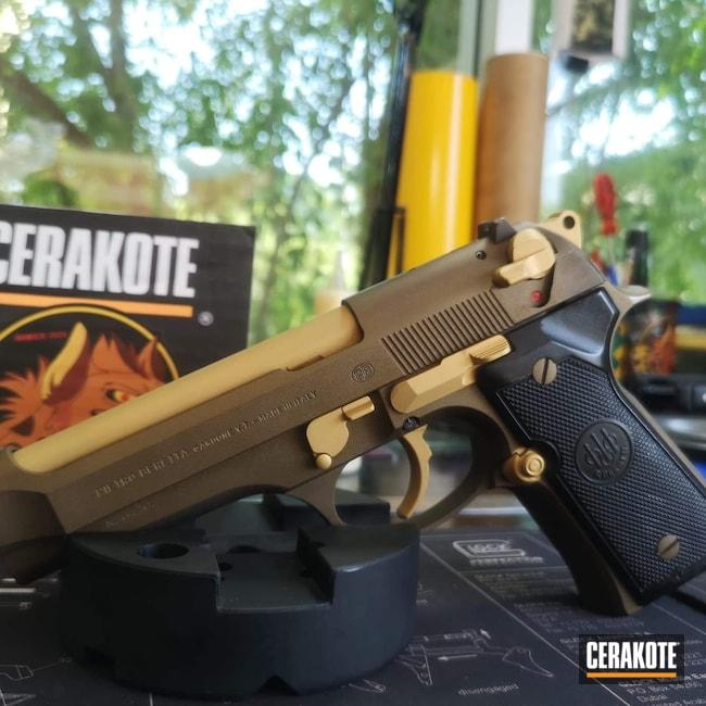 Cerakoted: S.H.O.T,9mm,Beretta92,Burnt Bronze H-148,Beretta,Gold H-122