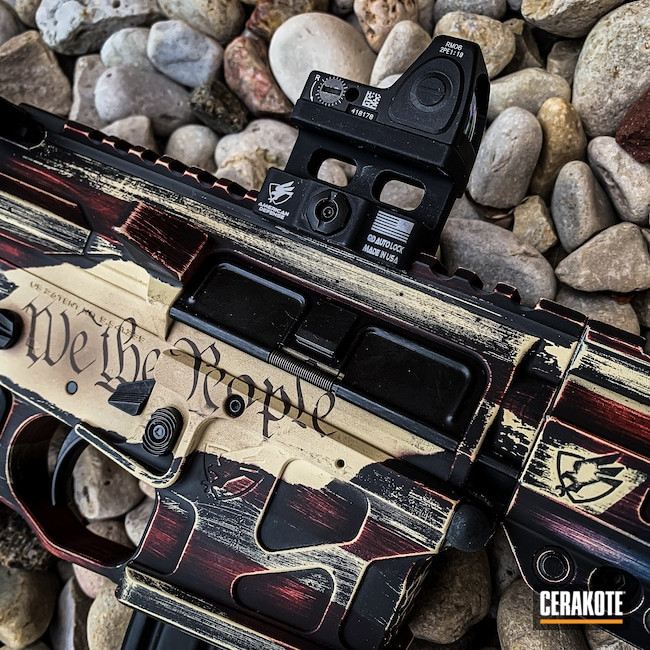 Cerakoted: S.H.O.T,Midnight Blue H-238,Snow White H-136,ADM,Distressed American Flag,USMC Red H-167,We the people,UIC-15,5.56,American Defense Manufacturing