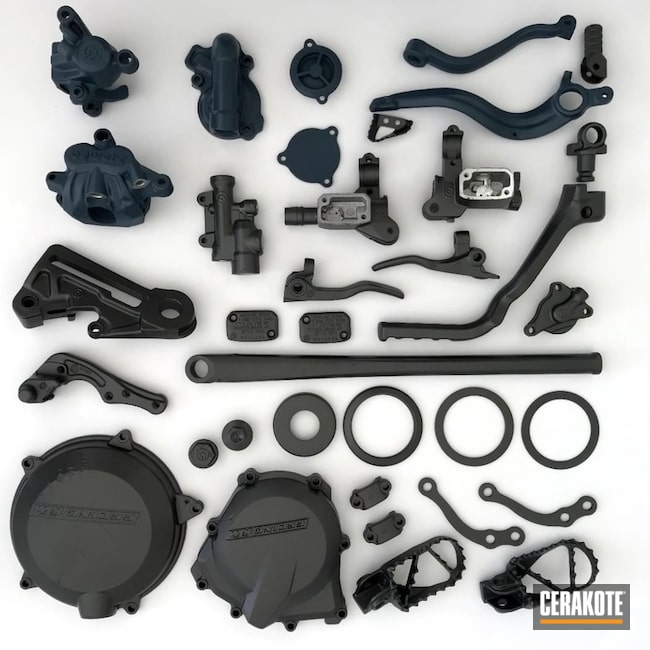 Dirt Bike Motorcycle Parts Cerakoted Using Tungsten And Blue Titanium
