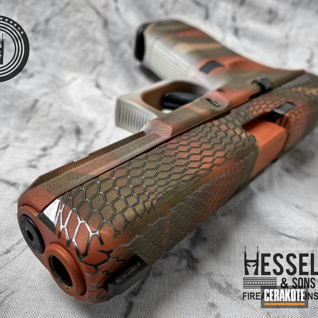 Cerakoted: S.H.O.T,Reptile,COPPER SUEDE H-310,Snake,Glock 17,Laser Engrave,9mm,Custom,BARRETT® BRONZE H-259,Desert Sand H-199,FROST H-312,Glock,Copperhead