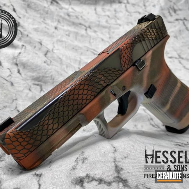 Custom Glock Cerakoted Using Frost, Desert Sand And Copper Suede