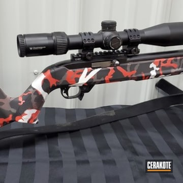 Custom Camo Ruger 10/22 Cerakoted Using Snow White, Graphite Black And Tungsten