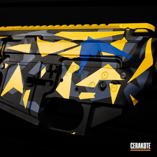 Cerakoted: S.H.O.T,Corvette Yellow H-144,Cerakote,Gun Parts,.223,AR-15 Lower,5.56,Jesse James Cold War Grey H-402,Graphite Black H-146,Transformers,Guns,.223 Wylde,Custom Cerakote,Sky Blue H-169,AR-15