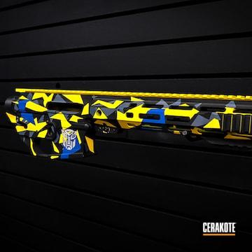 Splinter Camo Ar Build Cerakoted Using Sky Blue, Corvette Yellow And Graphite Black