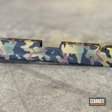 Custom Camo Hk Slide Cerakoted Using Multicam® Bright Green, Federal Brown And Graphite Black