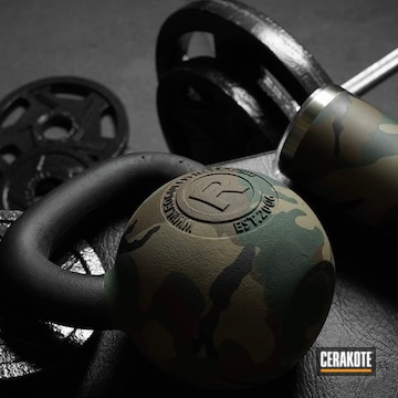 Woodland Camo Rogue Kettle Bell And Yeti Tumbler Cerakoted Using Highland Green, Mcmillan® Tan And Chocolate Brown