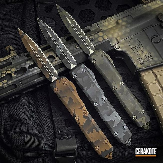 Custom Camo Microtech Knives Cerakoted Using Polar Blue, O.d. Green And Burnt Bronze