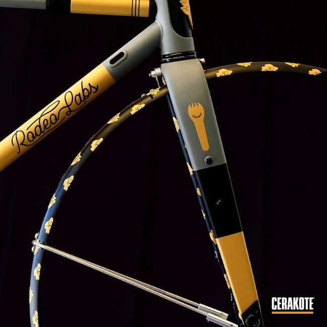 Cerakoted: Stone Grey H-262,Graphite Black H-146,Carbon Fiber,Bicycle,Rodeo Labs,Gold H-122