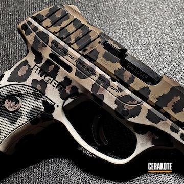 Leopard Print Ruger Ec9s Cerakoted Using Vortex® Bronze, Snow White And Graphite Black