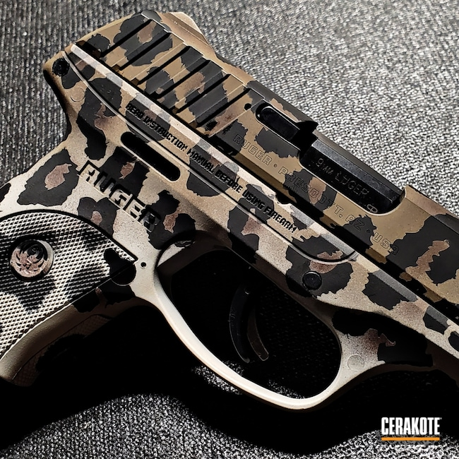 Cerakoted: S.H.O.T,Leopard Print,MAGPUL® FLAT DARK EARTH H-267,Ruger,ec9,Pistol,EC9s,EDC,Handgun,9mm,Cheetah Print,Snow White H-136,Graphite Black H-146,VORTEX® BRONZE H-293