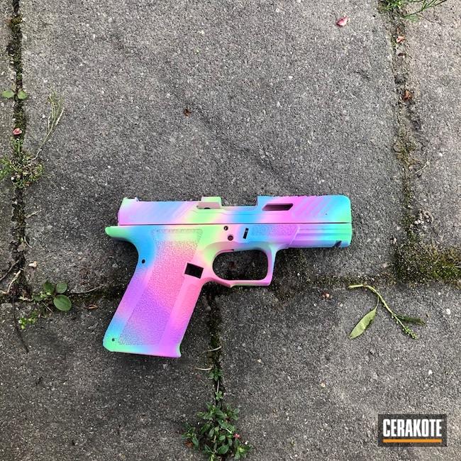 Unicorn Themed Glock Cerakoted Using Pink Sherbet, Blue Raspberry And Parakeet Green