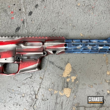 Distressed American Flag Themed Ar Cerakoted Using Snow White, Usmc Red And Nra Blue