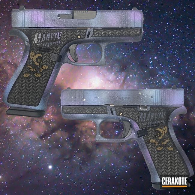 Cerakoted: S.H.O.T,Glock 43X,Galaxy Camo,g43x,Pistol,Pistol Slide,Galaxy Gun,43x,Glock 43,Pistol Frame,9mm,Graphite Black H-146,Glock,BLUE RASPBERRY H-329,PURPLEXED H-332,Galaxy