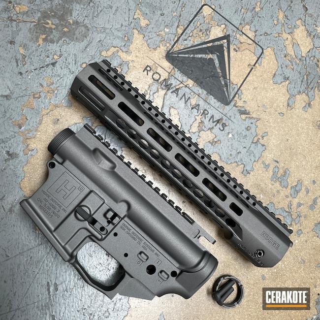 Cerakoted: S.H.O.T,Custom Mix,Hodge Defense,custom takedown pins,Custom Color,Upper / Lower / Handguard,Tungsten H-237,Upper / Lower,Graphite Black H-146,Disruptive Grey,Hodge Deffense Systems,AR-15,CMMG Inc