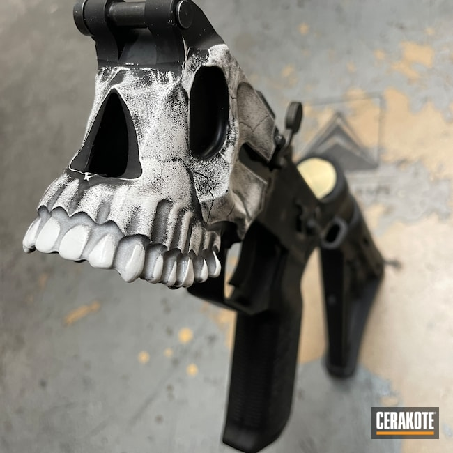 Cerakoted: S.H.O.T,Bright White H-140,Skull,Spike's Tactical The Jack,Lower,Battleworn,Spike's Tactical,Distressed,Worn,Armor Black H-190,AR-15
