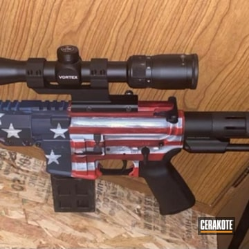 Battleworn American Flag Themed Ar Cerakoted Using Kel-tec® Navy Blue, Stormtrooper White And Ucmc Red