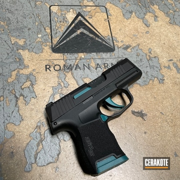 Sig Sauer P365 Pistol Cerakoted Using Satin Aluminum, Zombie Green And Sky Blue