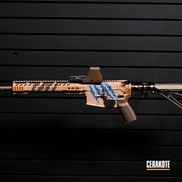 Custom Ar Build Cerakoted Using Noveske Tiger Eye Brown, Kel-tec® Navy Blue And Crimson