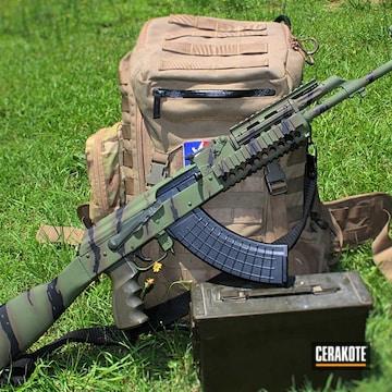 Tiger Striped Ak-47 Cerakoted Using Patriot Brown, Magpul® O.d. Green And Graphite Black