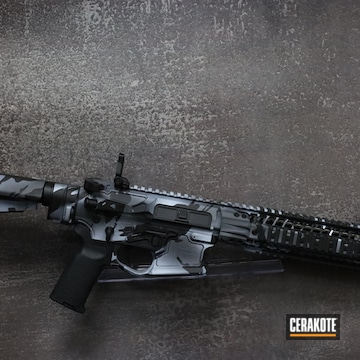 Custom Camo Ar Cerakoted Using Stormtrooper White, Sniper Grey And Graphite Black