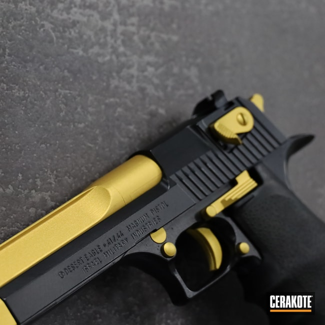 Cerakoted: Desert Eagle,BLACKOUT E-100,Pistol,IWI,44 Magnum,1911,Gold H-122,Handgun