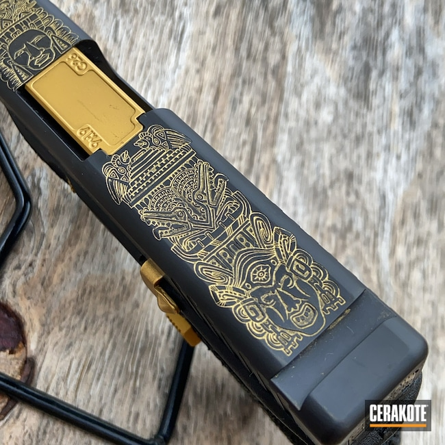 Cerakoted: 9mm,CERAKOTE GLACIER GOLD C-7800,Graphite Black H-146,Glock 17,Mayan,Native