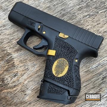 Glock 17 Cerakoted Using Cerakote Glacier Gold And Graphite Black
