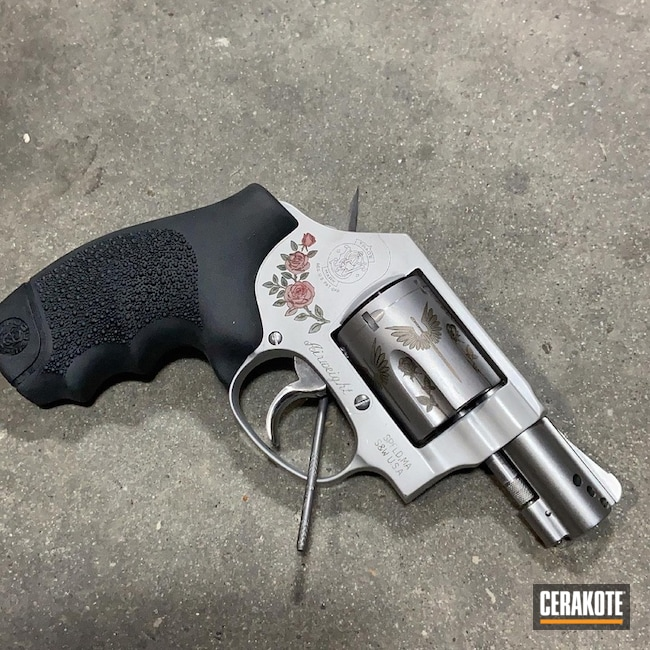 Smith & Wesson Revolver Cerakoted Using Stoplight Red And Highland Green