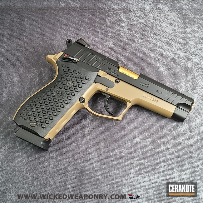 Cerakoted: S.H.O.T,Graphite Black H-146,TROY® COYOTE TAN H-268,Two Tone,Pistol
