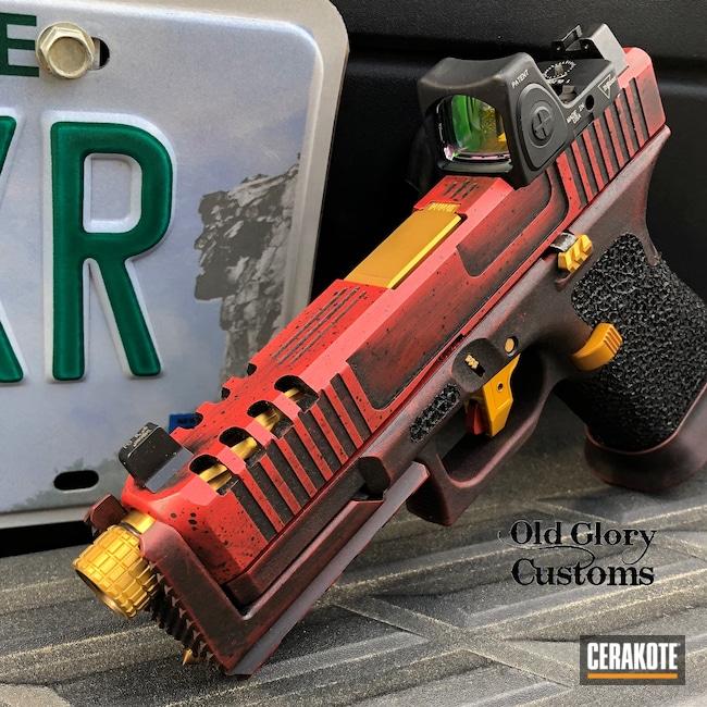 Cerakoted: S.H.O.T,Glock 19 Gen 5,RMR Cut,Stippled,Gold,Gold H-122,Glock 19,9mm,Custom Machined,FIREHOUSE RED H-216,Graphite Black H-146,Glock,Trijicon,Machined Slide