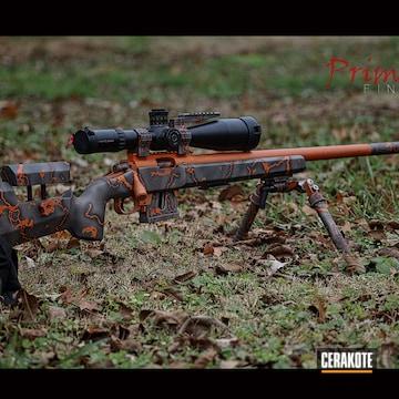 Custom Bolt Action Rifle Cerakoted Using Gun Metal Grey, Tequila Sunrise And Cobalt