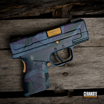 Galaxy Splinter Camo Themed Springfield Amory Xd Pistol Cerakoted Using Ridgeway Blue, Wild Purple And Tungsten