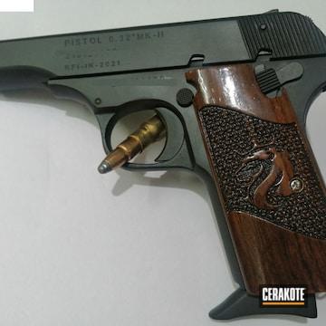 Indian Ordnance Factories Pistol And Revolver Cerakoted Using Shimmer Aluminum And Graphite Black
